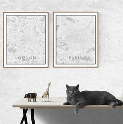 Paris mapa czarno biała - plakat Wymiar do wyboru: 61x91,5 cm