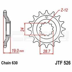 Zębatka przednia JT 526-15, 15 zębów, rozmiar 630 2200861 Kawasaki GPZ 1000