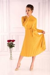 Zielona Żółta Plisowana Sukienka z Zabudowanym Dekoltem