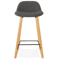 Nowoczesny hoker trapu mini z tapicerowanym siedziskiem  nogi naturalne + szare siedzisko