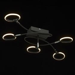 Czarna lampa sufitowa pięć okręgów led etinger demarkt techno 704012205