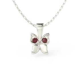 Wisiorek w kształcie motyla z białego złota z czerwonymi cyrkoniami bpw-88b-c - białe