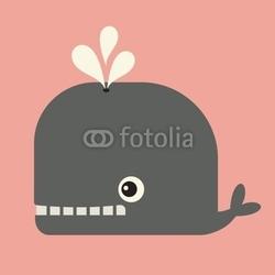 Plakat na papierze fotorealistycznym wektor ładny wieloryb