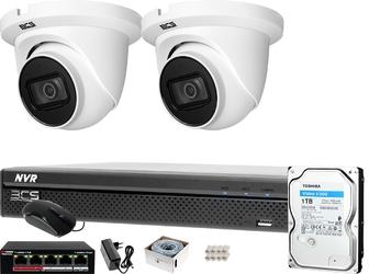 Zestaw do monitoringu: rejestrator bcs-nvr04015xme-ii + 2x kamera bcs-dmip1201ir-e-v + 1tb