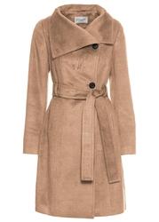 Krótki płaszcz z paskiem bonprix wielbłądza wełna