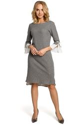 Bawełniana wygodna sukienka na co dzień z wyjątkowymi rękawami szara m327