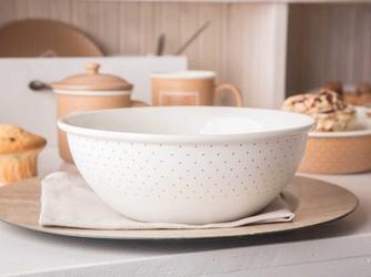 Salaterka  miska porcelanowa okrągła altom design happy home 21,5 cm, kremowa w kropki