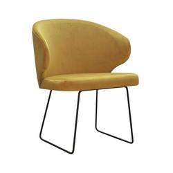 Nowoczesne krzesło tapicerowane eddy u na metalowych nogach
