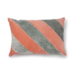 Hk living :: poduszka velvet w paski szarynude 40x60