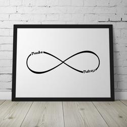 Nieskończoność - personalizowany plakat dla pary , wymiary - 50cm x 70cm, kolor ramki - czarny