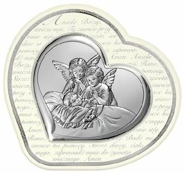Obrazek BC64512AS Dwa Aniołki 16,5 X 15,4 cm. Pamiątka Chrztu Świętego