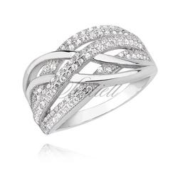 Srebrny elegancki pierścionek pr.925 z białą cyrkonią i efektownym wzorem