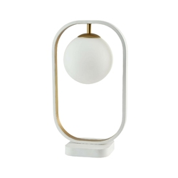 Lampa stołowa, szklana kula w biało-złotej ramce avola maytoni modern mod431-tl-01-wg