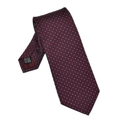 Bordowy krawat jedwabny w granatowe kwadraciki