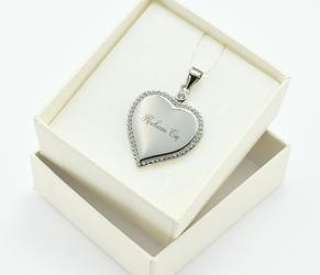 Serce srebrne z cyrkoniami - grawer gratis