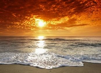 Wybrzeże, zachód słońca - fototapeta