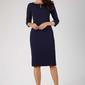 Granatowa elegancka dopasowana sukienka ze spinką przy dekolcie