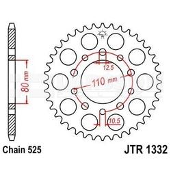Zębatka tylna stalowa jt 1332-36, 36z, rozmiar 525 2300000 honda xrv 750, triumph speedmaster 800