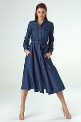 Rozkloszowana Elegancka Midi Sukienka z Długim Rękawem