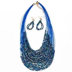 Naszyjnik kolczyki beads navy - navy