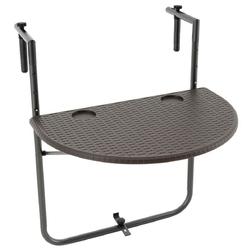 Stolik balkonowy 59,5x40 cm brązowy do zawieszenia składany