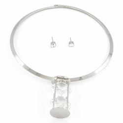 Naszyjnik kolczyki clarity silver - SILVER