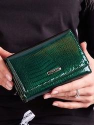 Skórzany portfel damski lakierowany zielony lorenti 76112 - zielony