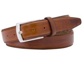 Elegancki koniakowy pasek skórzany męski 3,5cm ręcznie lakierowany 115