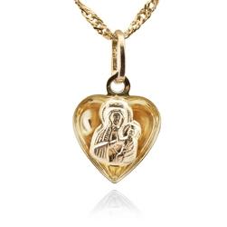 Złoty medalik 585 łańcuszek matka boska prezent na chrzest i komunię św. grawer - białe z różową kokardką