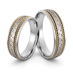 Obrączki ślubne z warkoczami i greckim wzorem - au-1010