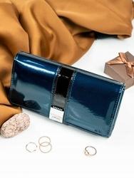 Skórzany portfel damski lakierowany z kryształkami niebieski lorenti - niebieski