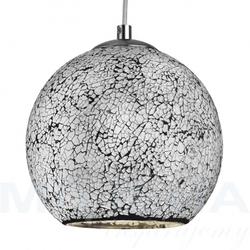 Crackle lampa wisząca 1 biały mozaika szkło