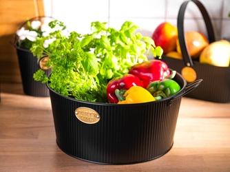 Koszyk  pojemnik z uchwytami metalowy dekoracyjny okrągły altom design czarny 30 x 14 cm