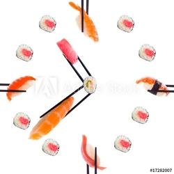 Obraz na płótnie canvas dwuczęściowy dyptyk sushi z pałeczkami