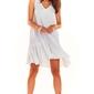 Luźna biała sukienka bez rękawów z falbanką