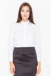 Biała koszula z długim rękawem z lamówkami