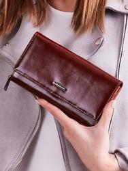 Skórzany portfel damski brązowy lorenti - brązowy