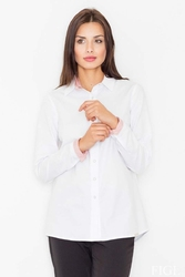 Biało czerwona klasyczna  koszula z wykończeniami w paski