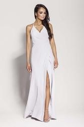 Popielata elegancka długa sukienka wiązana na szyi