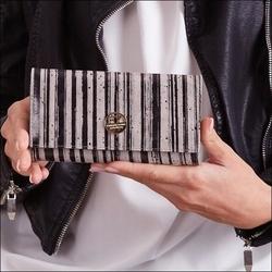 Skórzany portfel damski szaro - czarny forever young 64003 - czarny