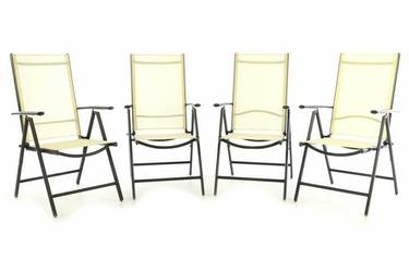 Krzesło kremowe 4 szt. , leżak ogrodowy regulowany składany