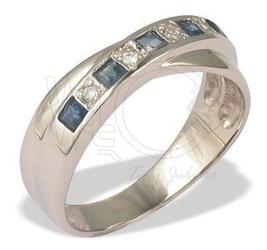 Pierścionek z białego złota z szafirami i diamentami jp-36b
