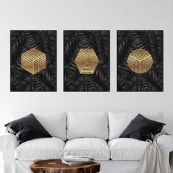 Zestaw trzech plakatów - geotropical gold , wymiary - 40cm x 50cm 3 sztuki, kolor ramki - czarny