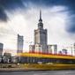 Warszawa panorama miasta w ruchu - plakat premium wymiar do wyboru: 59,4x42 cm
