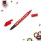 Marker z dwiema końcówkami pentel czerwony