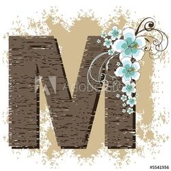 Tapeta ścienna niebieski hibiskus grunge vintage alfabet m