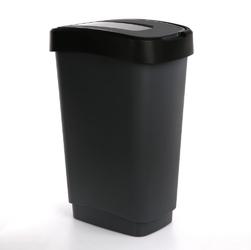 Kosz  pojemnik na śmieci z pokrywą obrotową artgos klip czarno-szary 50 l