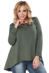 Ciemnozielona bluzka z wydłużonym tyłem plus size