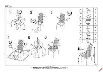 Pikowane krzesło na metalowych nogach k238