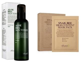 Benton zestaw promocyjny benton aloe bha skin toner + snail bee high content mask pack